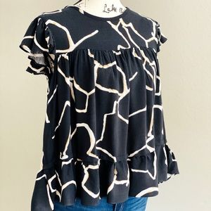 WHO What Wear Black Abstract Blouse